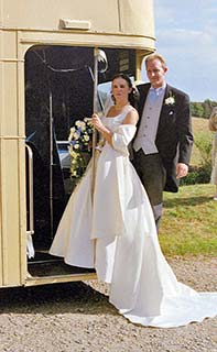 open top wedding bus